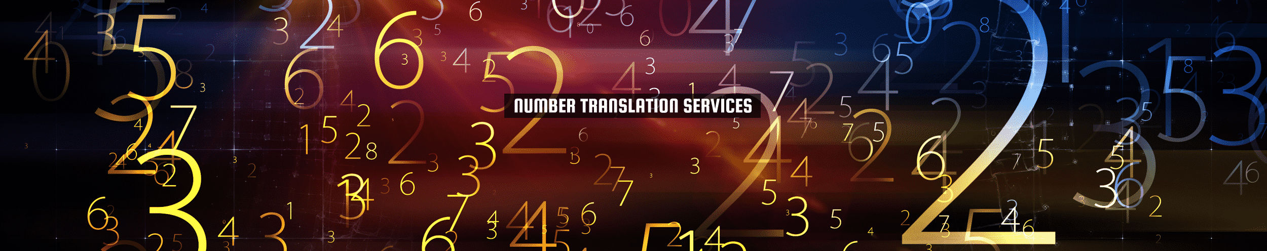 52Degrees Number Translation Services - funksjon bilde | serie gull og blå tall på svart bakgrunn | Telecom Solutions, Norwich